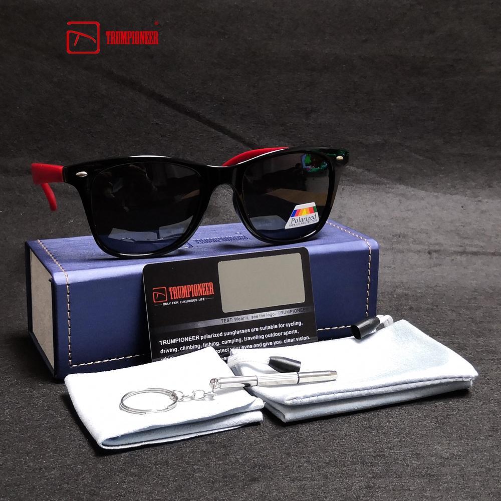 9e32bc030 Compre TRUMPIONEER Mulheres Do Vintage Polarizada Espelhos Óculos De Sol  Quadrado TR90 Preto Vermelho Quadro Óculos Feminino Condução Óculos De Sol  UV400 ...