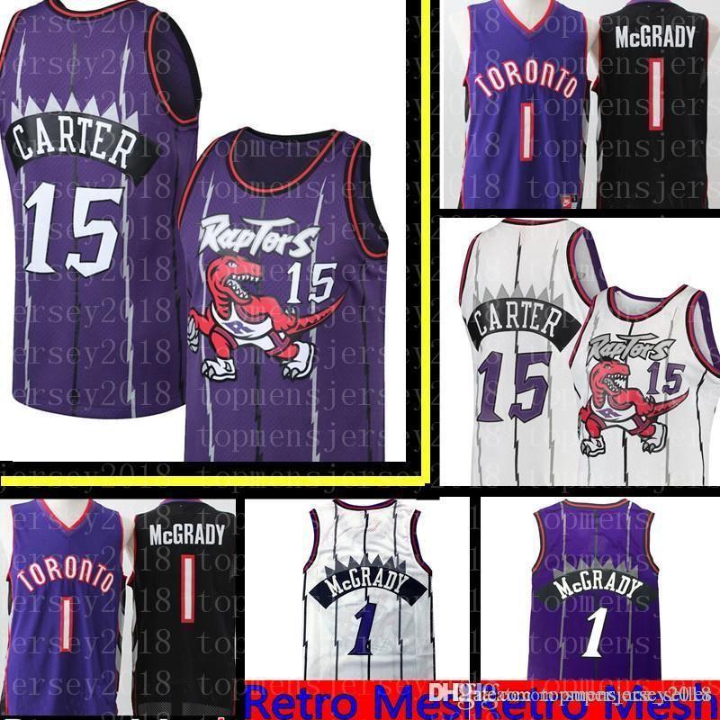 hot sale online 9f69a c97d0 15 Vince Retro Carter Jersey Retro Mesh Toronto Carter Raptors Tracy 1  McGrady Basketball Jerseys Embroidery Logos