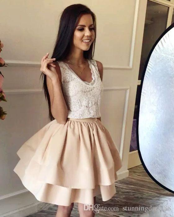 3a4724be8c 2019 Champagne Satin Ivory Lace Graduation Prom Dress Short V neck Layers  Pleated Cheap Homecoming Party Dress Cocktail For Girls Freshman