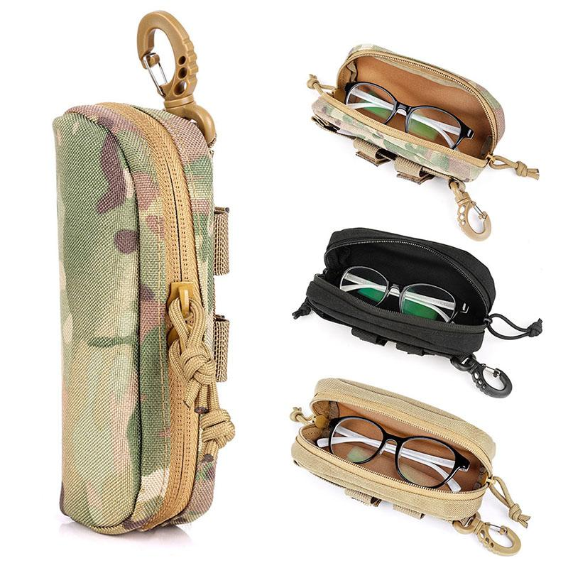 new Camouflage Mini Tactical Eyeglasses Bag Accessories Case 1000D Nylon Hard Molle Waterproof Coating Case glasses no included