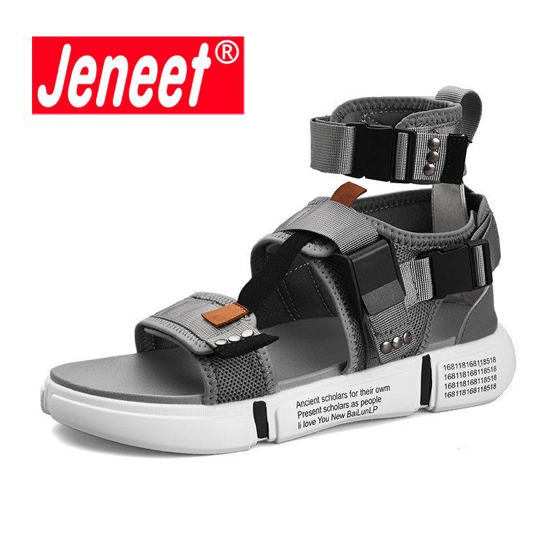 Rom Gladiator Open Toe Plattform Schuhe Neue Wohnungen Grau Strand Stiefel Mode Herren Stil Sommer Schwarz Atmungsaktive Sandalen XPZiOkuT