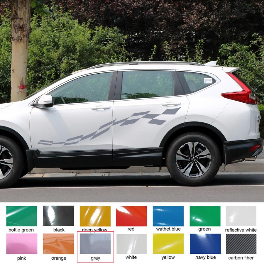 For toyota rav4 customize car decal cool racing side body grid gradient graphic vinyl scratch protect car accessory sticker online with 89 87 set on