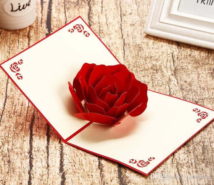 3D Pop Up Rose Greeting Card Red Romantic Blessing Message Cards For Lover ValentineS Day Birthday Greetings From Cosmose