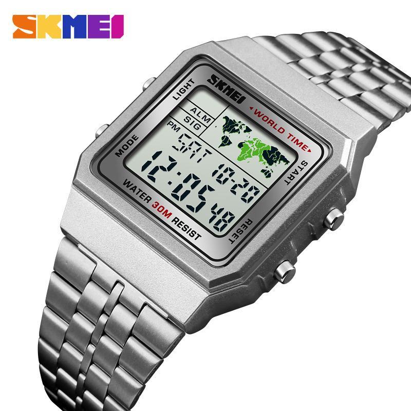 8c64c209715f Compre LED Digital Para Hombres Reloj Deportivo Para Hombres Relogio Masculino  Relojes Relojes De Pulsera De Acero Inoxidable Militar Impermeable SKMEI ...