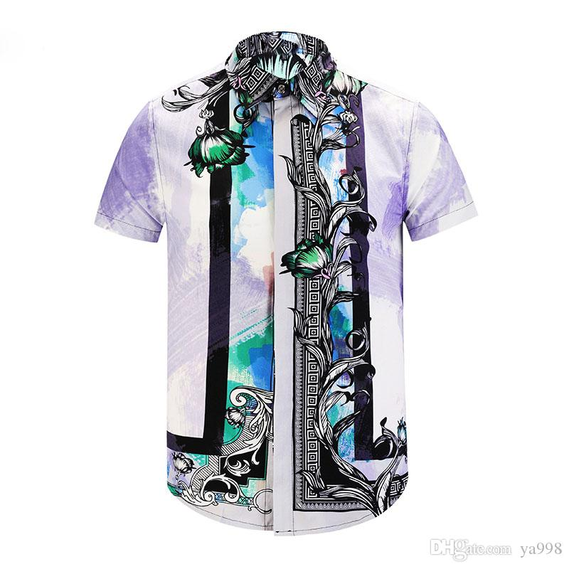 d31383f78c Italy men's Casual Short sleeve shirt fashion designer Mixed color  embroidery shirt medusa shirts