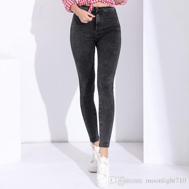 c0dd2516d30 Compre Pantalones Vaqueros Pitillo Mujer Pantalon Pantalones De Mezclilla  Femeninos Strech Para Mujer Pantalones Vaqueros Ajustados Con Cintura Alta  ...