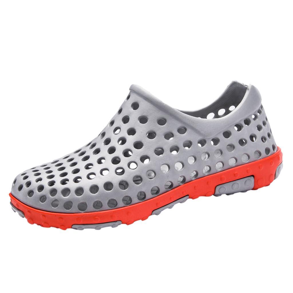 2019 KLV new Casual men summer sandal Flat Breathable Antiskid Waterproof Light Slippers Beach Hole Shoes zapatos de hombre #89