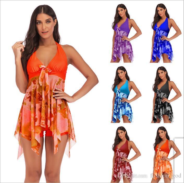 915ff06b98 2019 Bikini Swimdress Plus Size Sexy Swimwear Women Clothes Swimsuit Cover  Ups Fashion Slim Biquini Summer Holiday Bathing Suits Beachwear B4159 From  ...