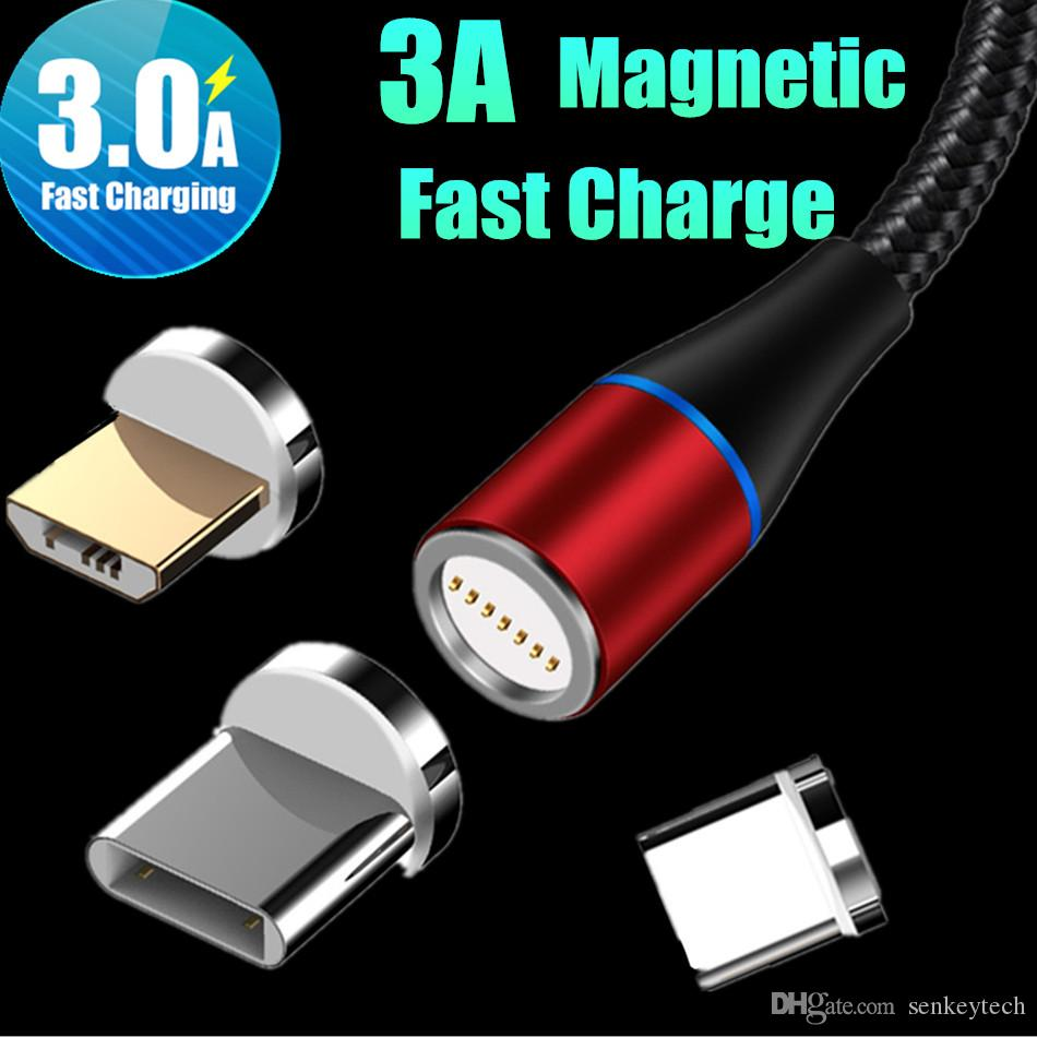 3A Fast Charging Magnetic USB Cable 3 in 1 Tpye C Micro Cable 1M 2M LED Nylon Braided Charger Data Line