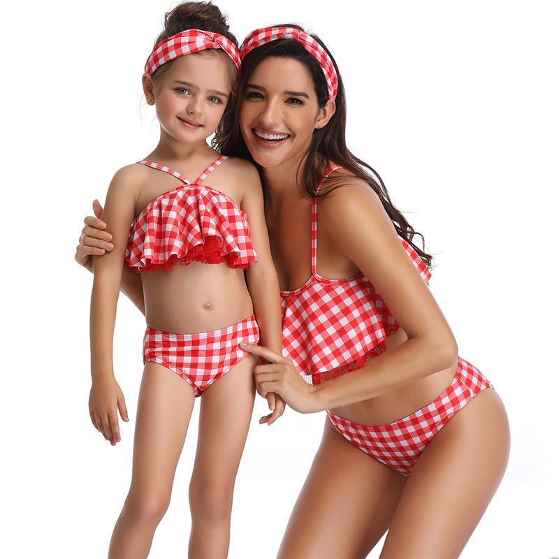 f7ac6d93d1 2019 Plaid Family Bikini Set Halter Straps Flash Swimwear Lace Flounce  Parent Child Swimsuit Bathing Suit From Fashiondress520, $25.51 | DHgate.Com