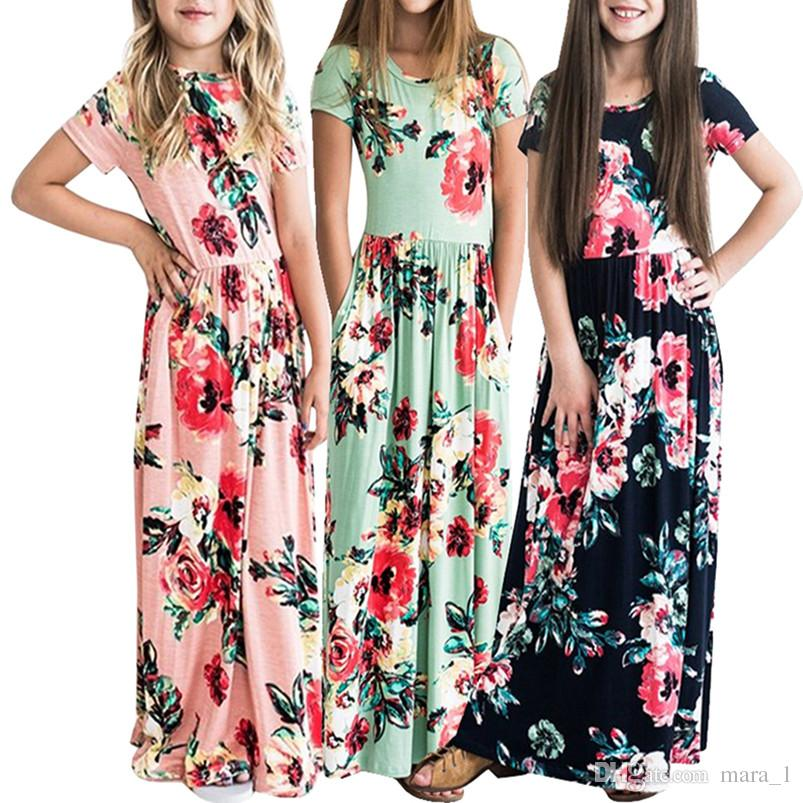 73d1edbfc40 Girl Floral Print Maxi Dress Kids Summer Short Sleeve Dresses Loose Cute  Long Skirts Children clothes 80cm-140cm 384