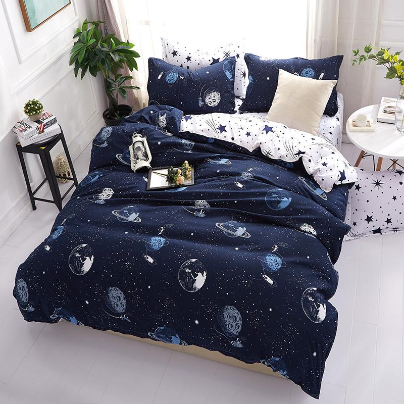 3D Bedding Sets Star Galxy Duvet Cover Blue White 4pcs cartoon new fashion Bed sheets Single Twin Full Queen Sizes Kid or Boys32