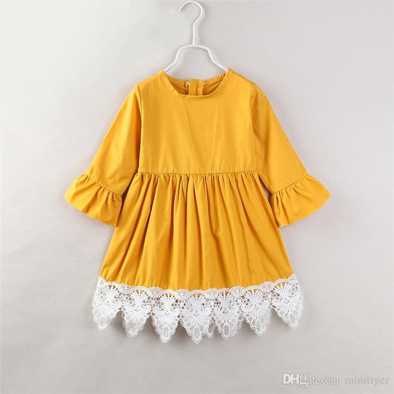 d10fdc0aa079 Kids Girls Ruffle Long Sleeves Floral Lace Princess Dress Spring And Autumn  Children Wear Korean Cotton Dress Yellow 1 3Y UK 2019 From Minitiger