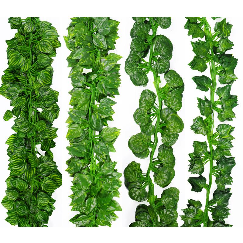 2m Long Simulation Plants Green Ivy Leaf Fake Grape Vine Artificial Flower String Foliage Leaves Home Wedding Garden Decoration C19041702