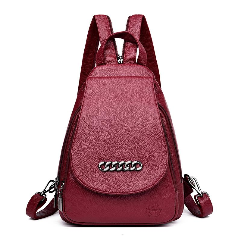 34c9a249155d 2019 Luxury Women Leather Backpacks Vintage Female Shoulder Bag Sac A Dos Travel  Ladies Mochilas School Bags For Girls Preppy Rolling Backpack Toddler ...