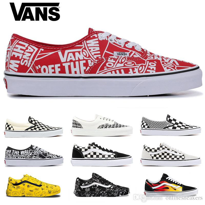 Original Vans Old Skool Men women Casual shoes Rock Flame Yacht Club Skateboard mens Canvas Sports Running Shoes Sneakers Size 36-44