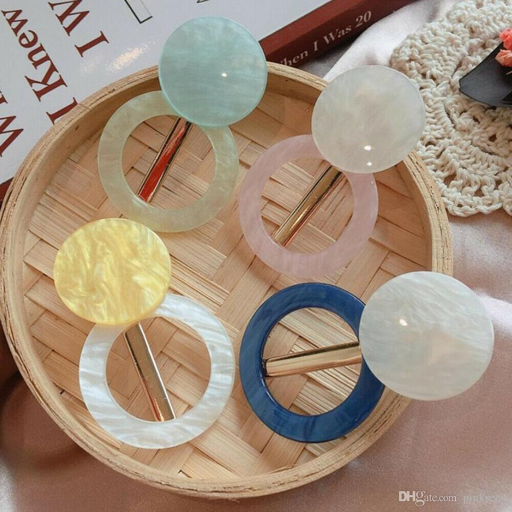 Korean Round Acrylic Hair Clips for Women Vintage Geometric Alloy Hairband Elegant Girls Bang Hairgrip Barrette Hair Accessories