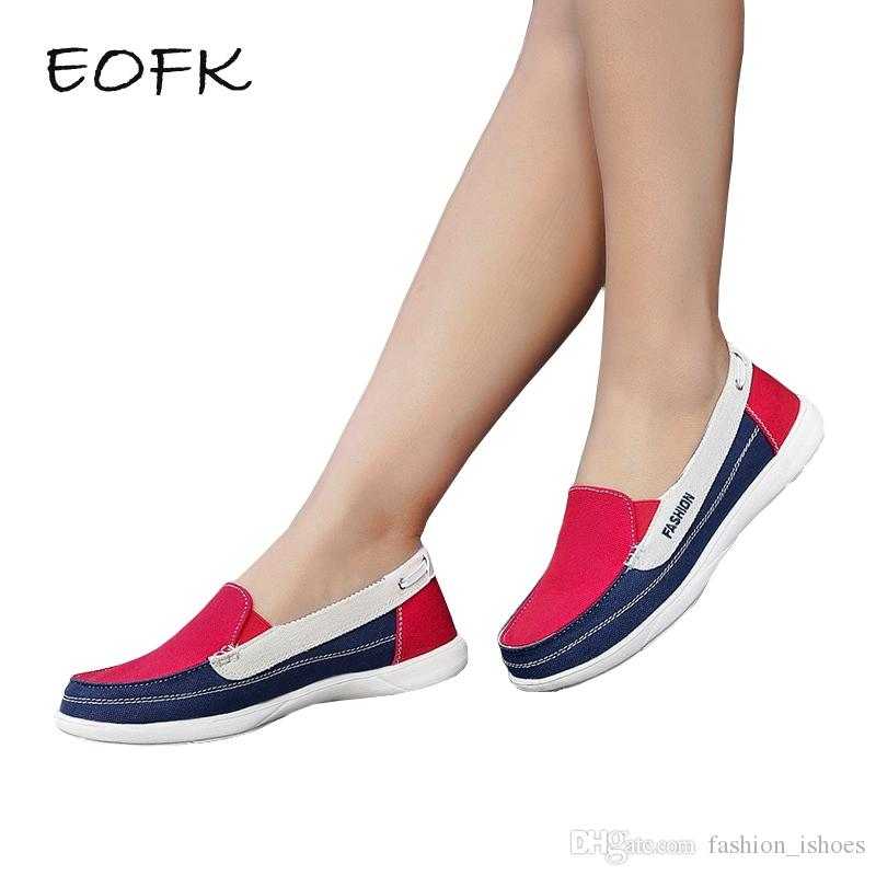2433842a1f776 EOFK Women Canvas shoes Woman Ladies Casual shoes Lady loafers Women's  Flats Slip On Shoes tenis feminino zapatos de mujer #11017