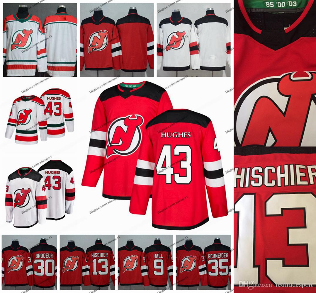 online store ed3d9 72806 2019 Draft 1st New Jersey Devils 43 Jack Hughes 9 Taylor Hall 35 Cory  Schneider 13 Nico Hischier 30 Martin Brodeur Hockey Jersey S-XXXL
