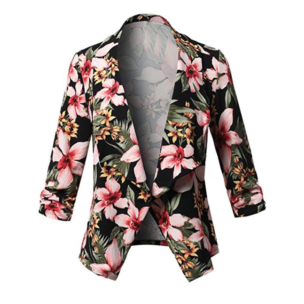 c783d75962918 Women Three Quarter Sleeve Plus Open Front Short Floral Cardigan Suit  Jacket Bohemian Style Ladies Work Coat Chamarras De Mujer Avirex Leather  Jackets Nice ...