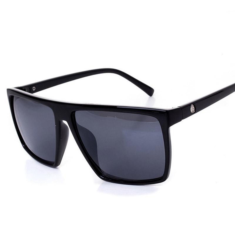 b21a988e3 Compre Oversized Flat Top Óculos De Sol Das Mulheres Dos Homens Óculos De Sol  Quadrados Óculos Vintage Retro Gafas Uv400 Óculos Masculinos Oculos De Sol  De ...