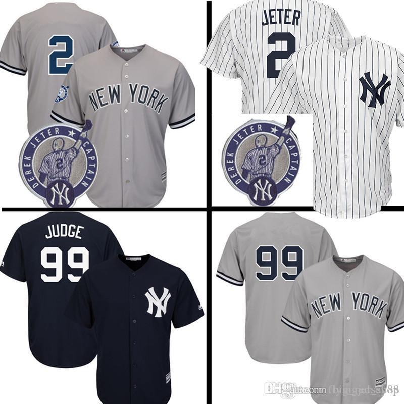 3a8dd2617 2019 Cool Base 99 Aaron Judge New York Mens Yankees 2 Derek Jeter ...