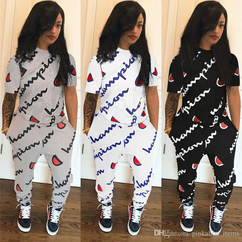05a96dc9e 2019 2019 Champion Brand Short Sleeve Pocket Letter Print Two Piece Sets Plus  Size Women Girls Tracksuit Tights Leggings Trousers T Shirt Suits From ...