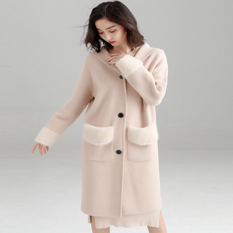 e7a7f3724bfbd0 2019 Good Quality 2019 Spring Long Knitted Cardigan Loose Overcoat Water  Proof Mink Double Sided Nipple Coat Women Woolen Overcoat From Odelettu, ...