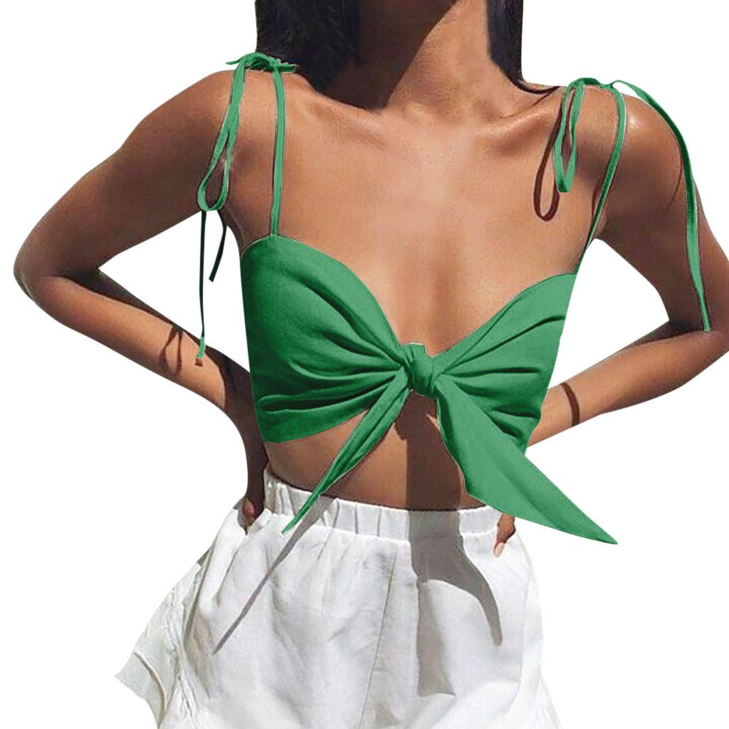 1579b4797cc4a 2019 Summer 2019 Women Fashion Sexy Solid Off Shoulder Strapless Vest Bow  Knot Tank Top Crop Blouse Crop Top Women Cropped Feminino From Dalivid