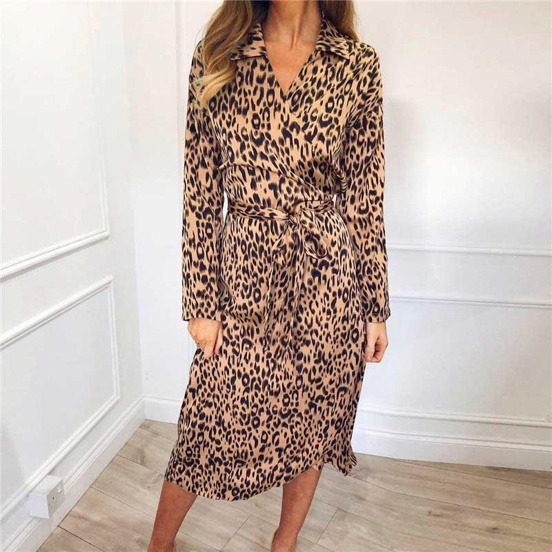 45501add61e4 Women Casual Fashion Leopard Print Dresses, 2019 Summer Long Sleeve Empire  Asymmetrical Shirt Dress Chiffon Size S XXL Long Sleeve Casual Dresses For  ...