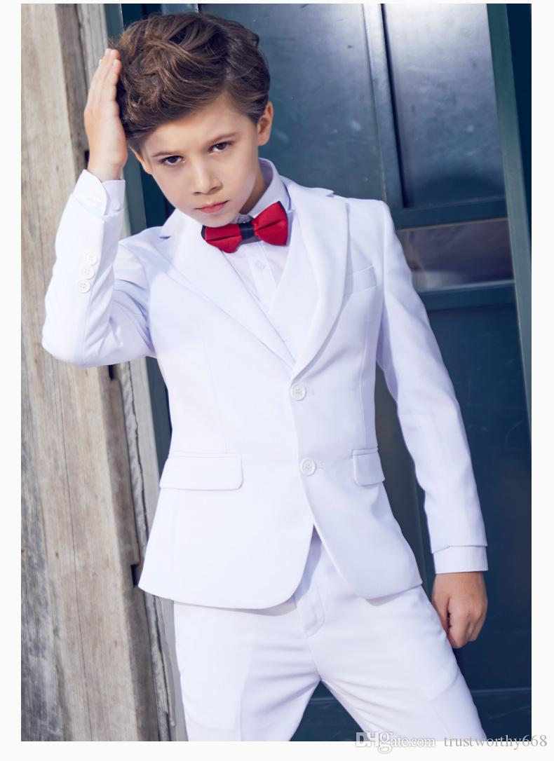 Handsome Two Buttons Notch Lapel Kid Complete Designer Handsome Boy Wedding Suit Boys Attire Custom-made (Jacket+Pants+Tie+Vest) A59