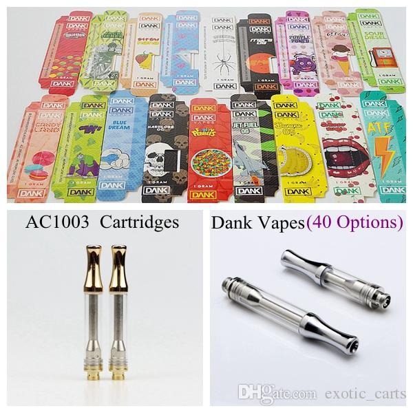 40 Styles Dank Vapes Packaging AC1003 Ceramic Vape Cartridge Empty 1ml  Glass Tank Thick Oil Vaporizer Pen Cartridges For 510 Thread Battery