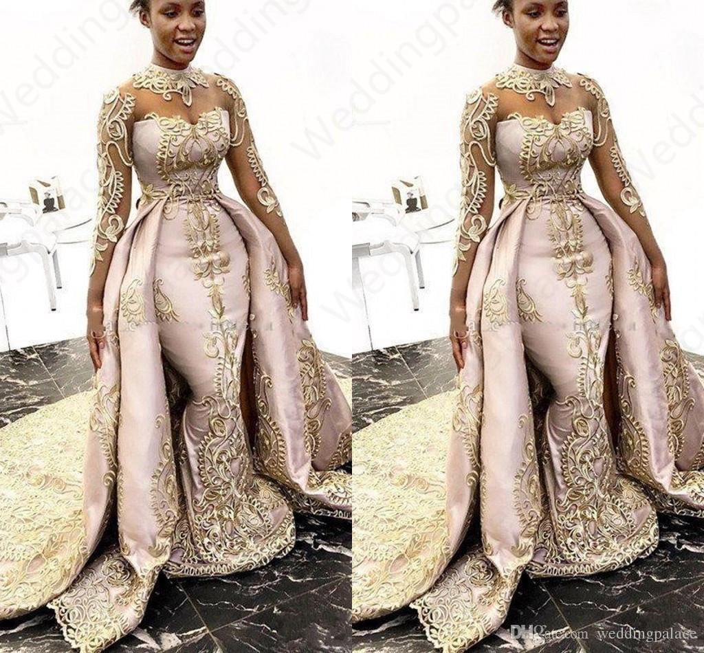 Luxury Designer Mermaid Prom Dresses With Detachable Train Long Sleeves High Neck Prom Gowns Satin Lace Appliqued Plus Size Prom Gowns