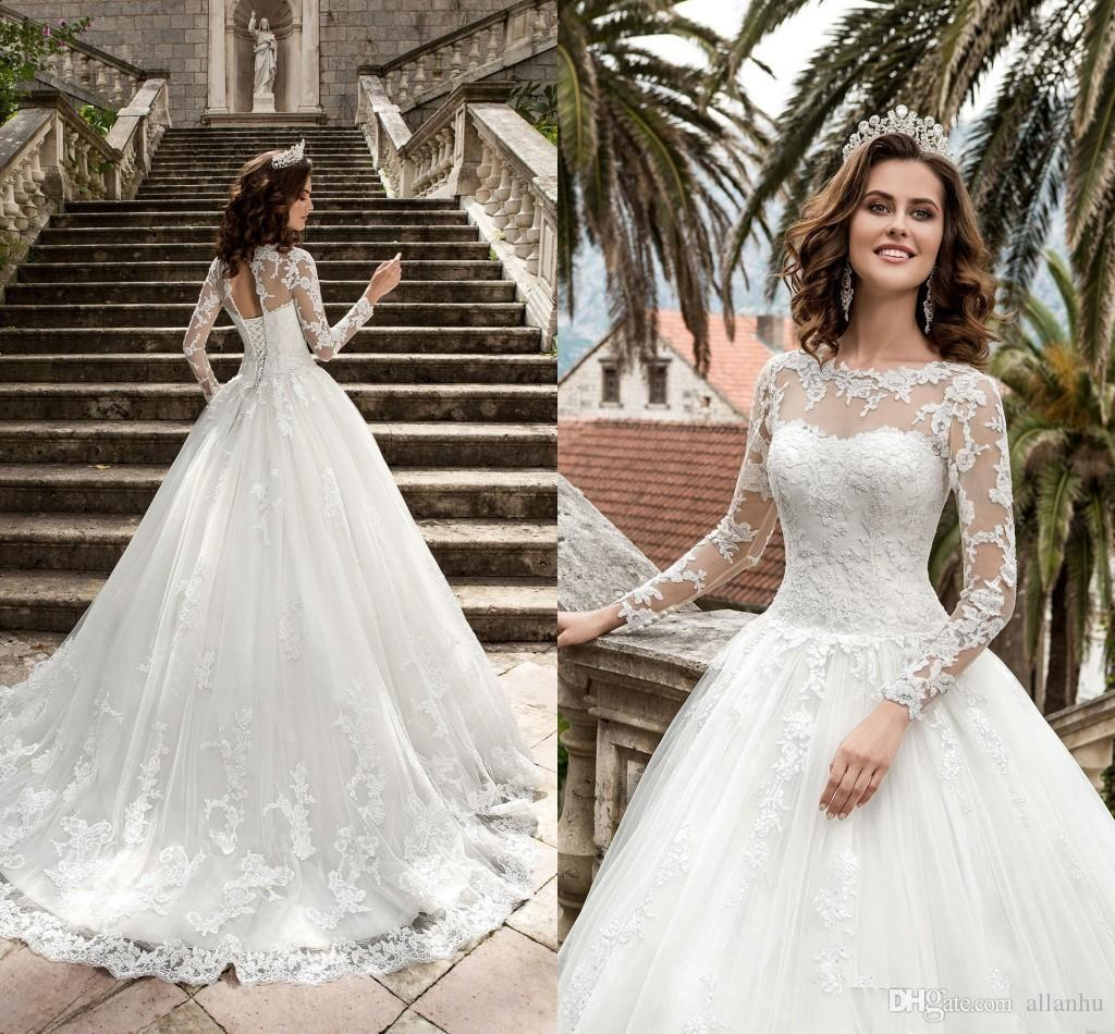 New Design Princess Queen Vestios De Novia A-line Wedding Dresses 2019 Sheer Long Sleeves Lace Corset Back Vintage Bridal Gowns