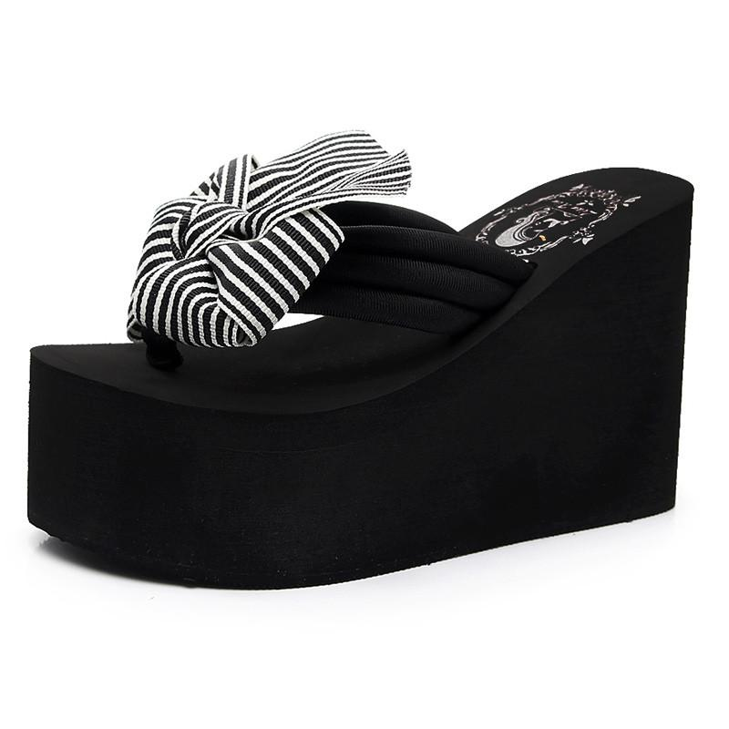 search for official search for authentic super specials 35-41 Woman Sandal Slippers Bow Black Wedge Flip Flops Women Slides Shoes  High Platform Slippers Flip Flops Beach Women Mules Heels 11CM