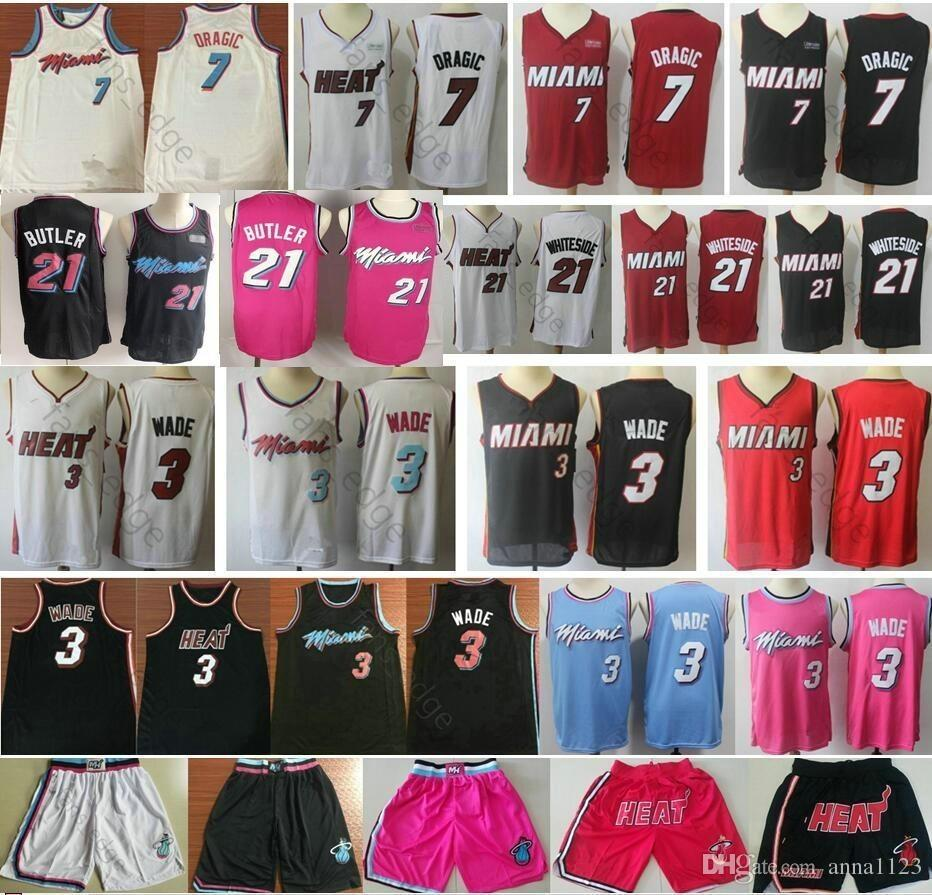 innovative design a4f14 85a31 2019 New Miami Dwyane 3 Wade Jerseys Red White Black Pink Wholesale Cheap  Mens Goran 7 Dragic Jimmy 21 Butler Basketball Jersey Short