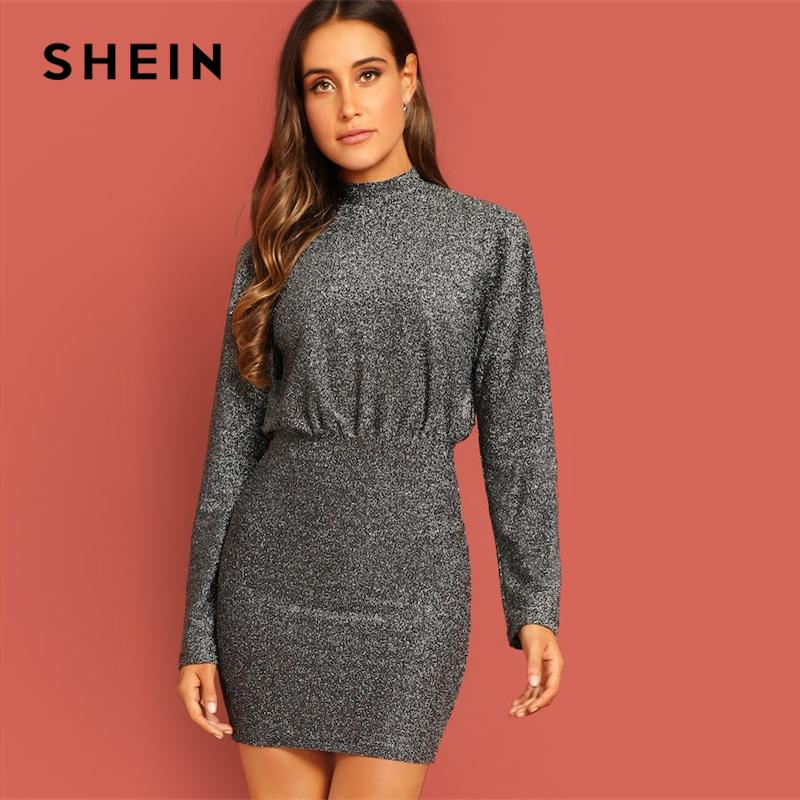 60313a31ad SHEIN Mock Neck Glitter Dolman High Neck Short Plain Dress Going Out 2019  Women Office Lady Long Sleeve Steetwear Dress Casual Cocktail Dress Pale  Yellow ...