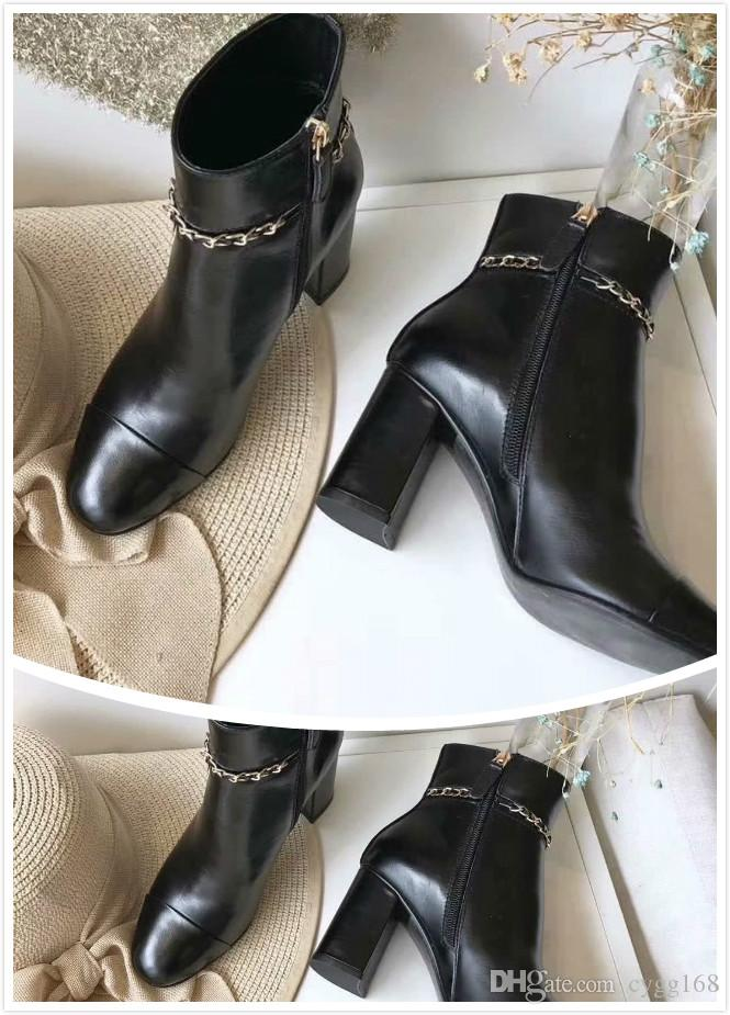 2019 Authentic Martin Calfskin Ankle Boots Women Lace Up Leather Black High Heels Boots G35008 X53109 94305 High Heels Size 35-45