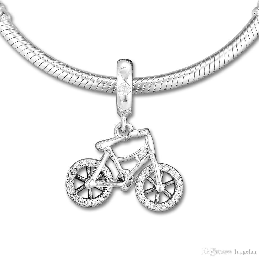2019 Primavera 925 Sterling Silver Jewelry Brilhante De Cristal Da Bicicleta Charme Beads Serve Pulseiras Pandora Colar Para As Mulheres DIY Fazendo