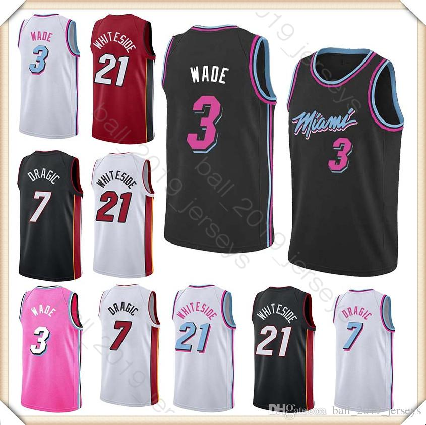 low priced 192ee 52af6 3 Wade jersey 21 Whiteside jersey 7 Dragic basketball jersey 2019 Hot Sale  men tracksuit jerseys