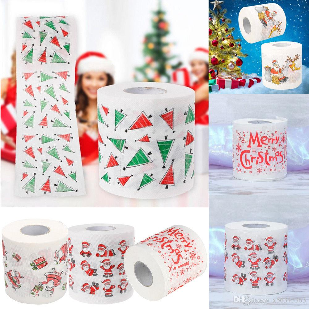 Merry Christmas Pattern Toilet Paper Roll Napkins Funny Gag Xmas Tissue Living Room Table Decoration Gifts Santa Claus tree Elk Printed
