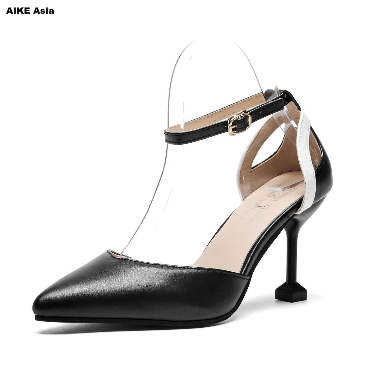 29ea1b1eabd54b 2019 2018 Hot Sale New Arrive Women Pumps Elegant Color Mixing Buckle High Heels  Shoes Pointed Toe Lady Wedding Shoes Zapatos Mujer Flat Shoes Online ...