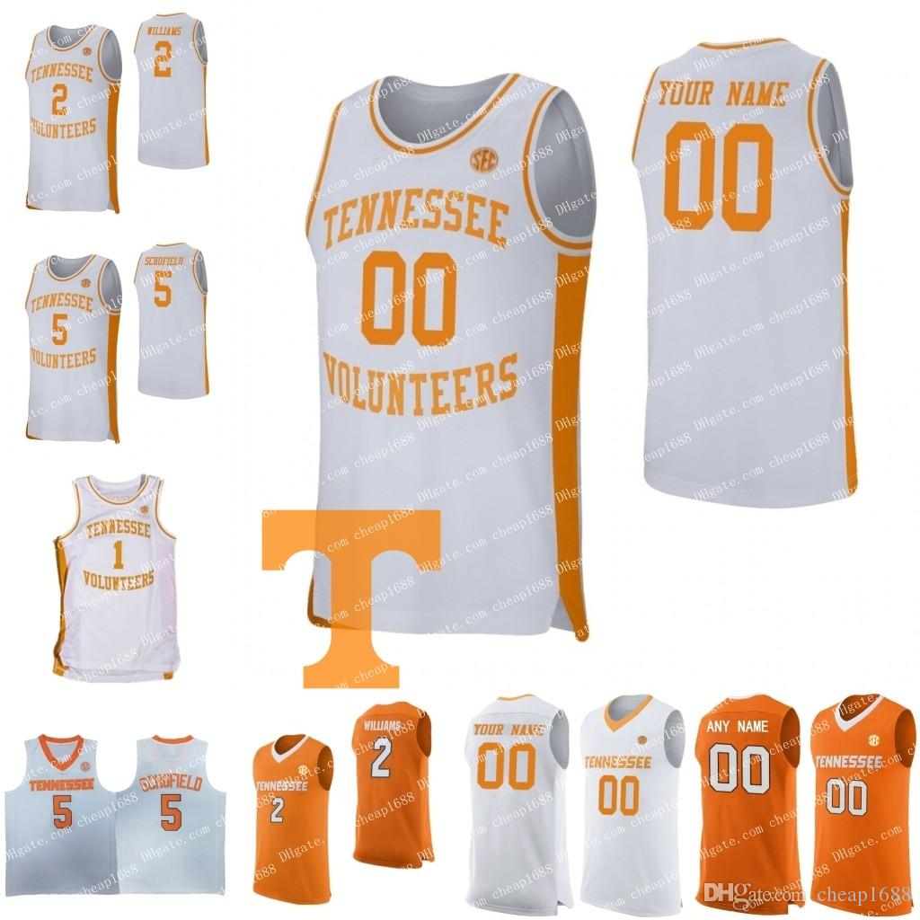 6e5d47d52d6 2019 Custom 2019 New Tennessee Volunteers Basketball 2 Grant Williams 5  Admiral Schofield 0 Bone Any Name Number Orange White Jersey From  Cheap1688, ...