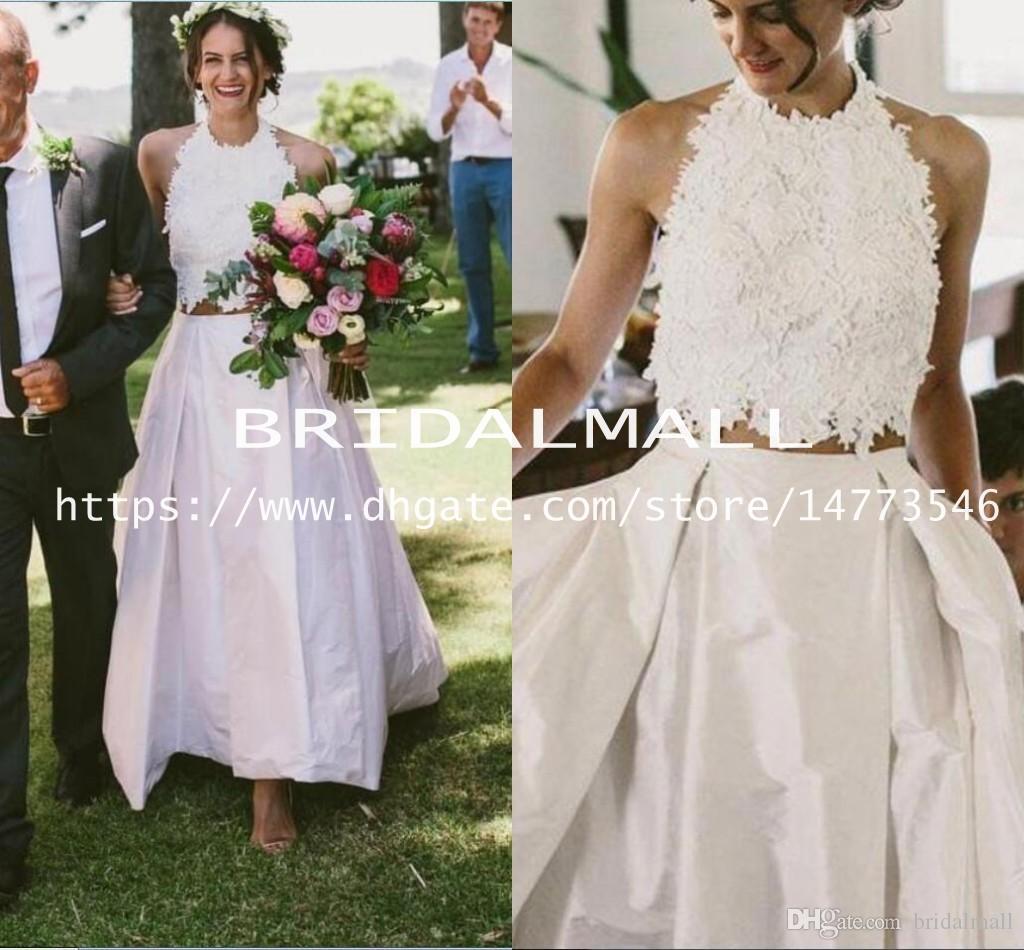 7cd53bbd1a Discount Simple Bohemian Two Pieces Wedding Dresses 2019 Halter Neck Beach  Bridal Dress Custom Made Outdoor Boho Wedding Gowns Cheap Vestido De Noiva  Bridal ...