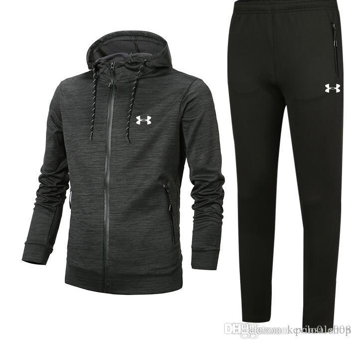 ad7b328f8a Tracksuit 2018 Best Version Spring Autumn Mens Tracksuits Print Zipper Suit  Tops Pants Mens Casual Sweatshirt Sport Suits