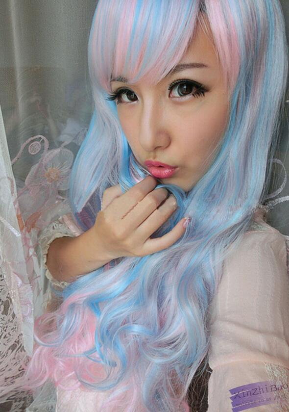 WIG LL ZCD NEW STYLE Free >>>Cosplay Lolita Anime Harajuku Long Wavy Hair Blue Mix Pink Girls Wigs