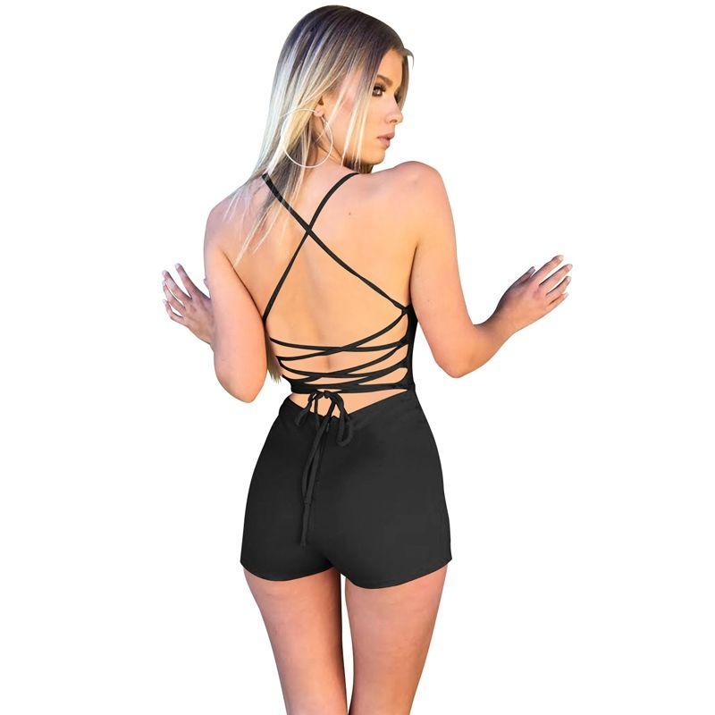 60366966a3e674 2019 Sexy Sleeveless Jumpsuits Women One Piece Yoga Set Bandage Sportswear  Backless Bodysuits Solid Yoga Pants Women Sports Shorts #147395 From  I_jersey, ...