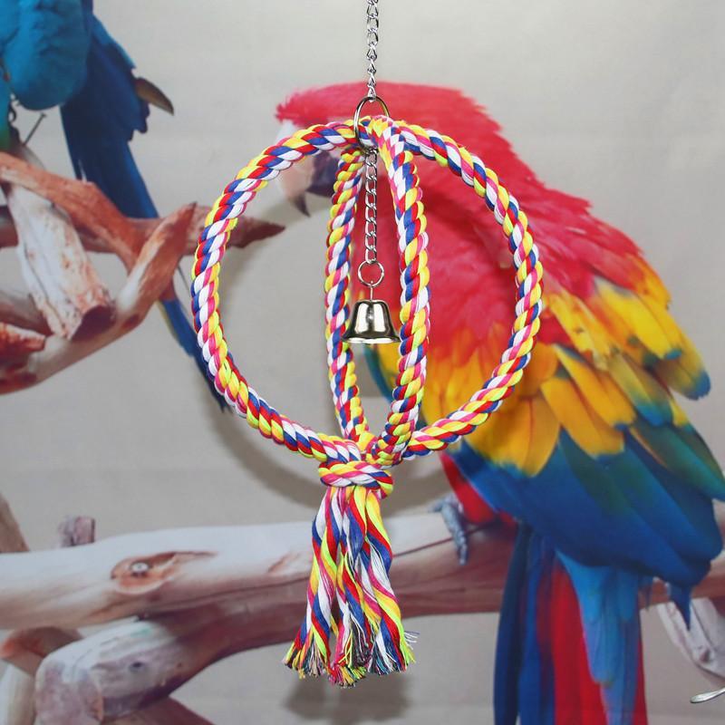 5a9e4a5918ff23 Haustiere Vögel Papagei Runde Kreis Ringe Zu Klettern Ring Spielzeug Biss  Baumwollseil Schaukel Vogelhäuschen liefert Käfig Cockatiel Huhn