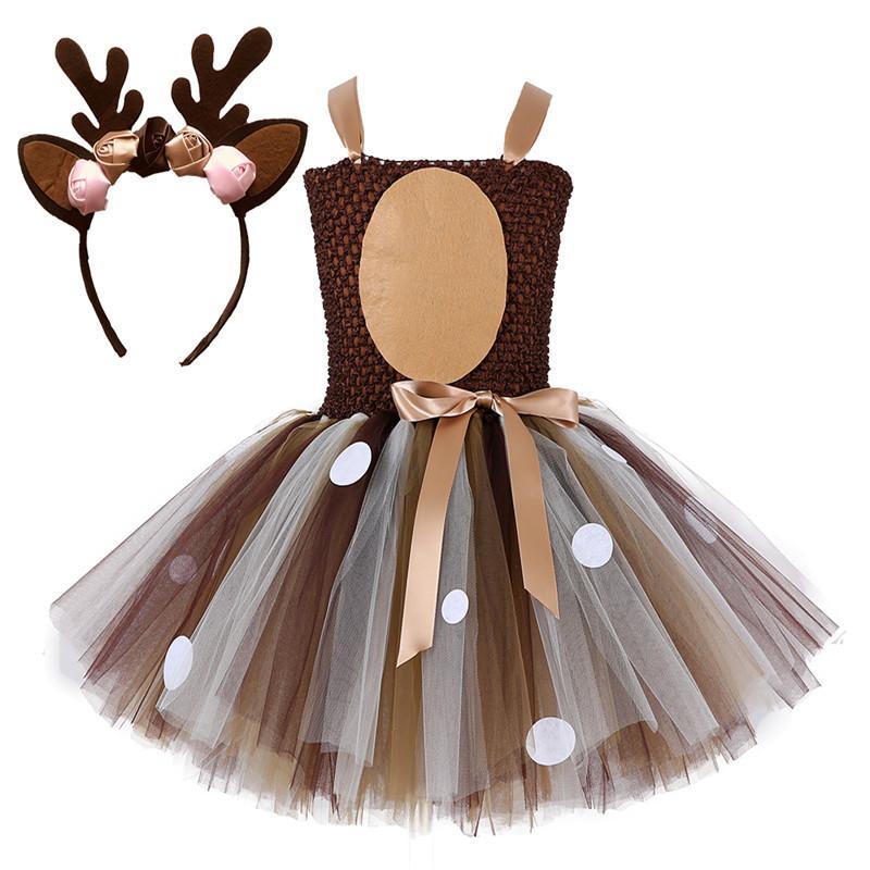 3686969b3 Brown Deer Tutu vestido disfraz de Halloween para niñas niños cumpleaños  fiesta vestido niños Cosplay Animal Sika Deer hasta ropa