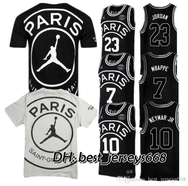 huge discount 9198b c20a8 2019 PSG Paris Jersey 23 Michael JD 7 MBAPPE Paris Basketball Jerseys PSG X  AJ Basketball Jersey Jordam Paris Saint Germa